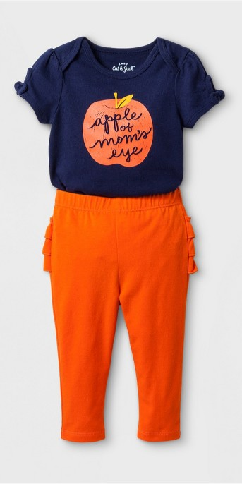 Baby Girls' 2pc Short Sleeve Bodysuit and Ruffle Leggings Set - Cat & Jack™ Nightfall Blue/Burnt Orange