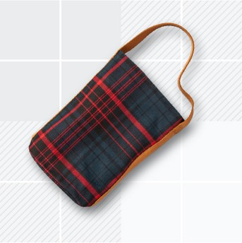 Wine Tote Plaid Leather Handle - Blue/Red - Hearth & Hand™ with Magnolia