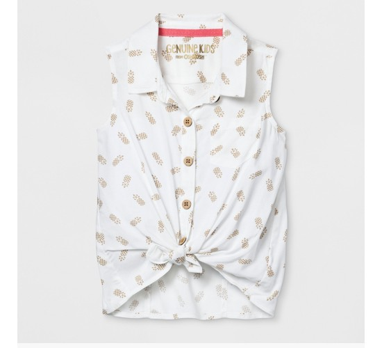 Toddler Girls' Button Front Knot Top Blouse - Genuine Kids® from OshKosh - Cream Pineapple Print