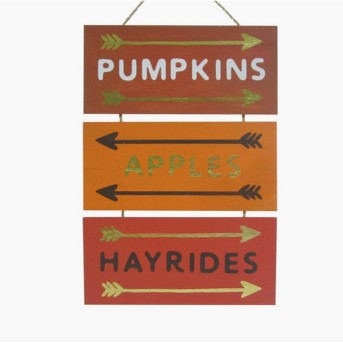 Harvest Pumpkins, Apple, Hayrides Hanging Wood Sign