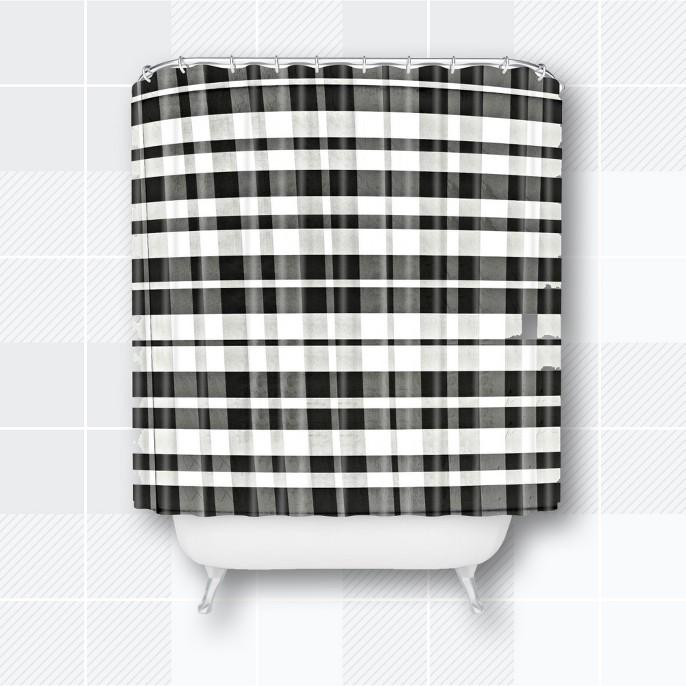 Monika Strigel Farmhouse Gingham Shower Curtain Black - Deny Designs