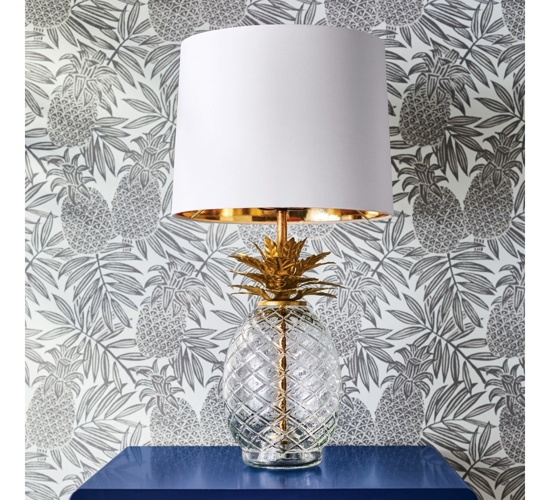 Glass Pineapple Table Lamp Brass - Opalhouse™, Pineapple Peel & Stick Removable Wallpaper Disco Brown/White - Opalhouse™