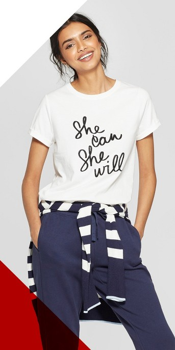 Women's Short Sleeve She Can She Will Graphic T-Shirt - A New Day™ White