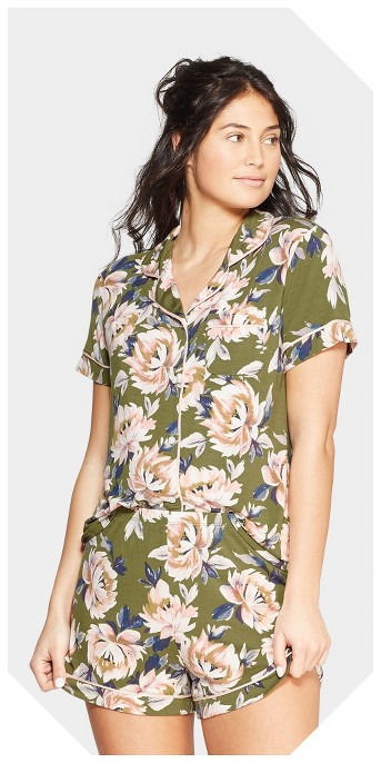 Women's Floral Print Beautifully Soft Notch Collar Pajama Set - Stars Above™ Green