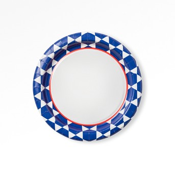 "Geo Blue Printed Paper Plate 6.88"" - 75ct - Up&Up™"