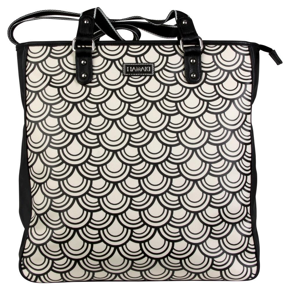 Women's Nylon City Tote Handbag, Black/White