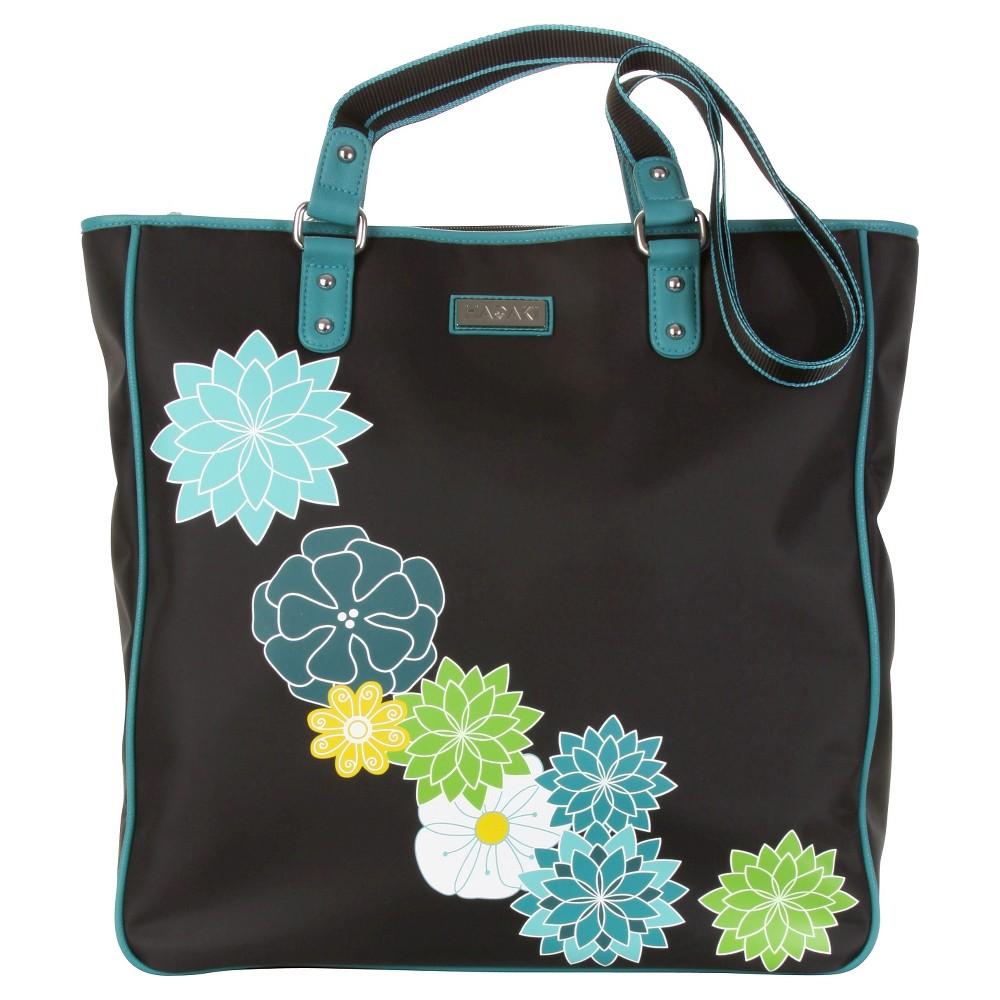 Womens Nylon City Tote Handbag, Black/Blue