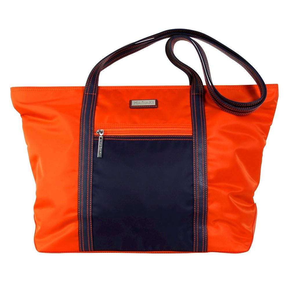 Womens Cosmopolitan Nylone Tote Handbag, Blue/Orange