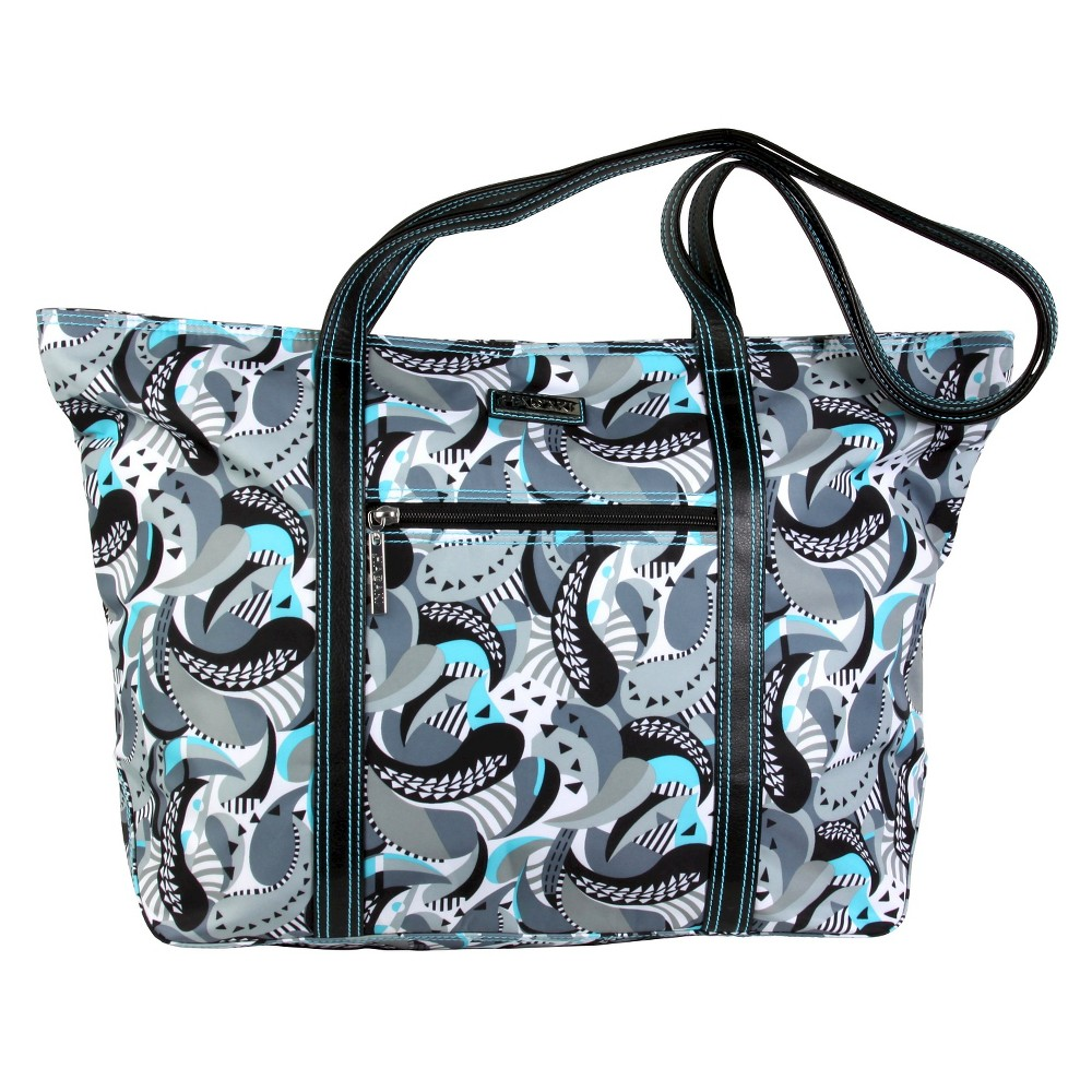 Womens Cosmopolitan Nylone Tote Handbag, Multi-Colored/Lt Grey/Lite Aqua/Black