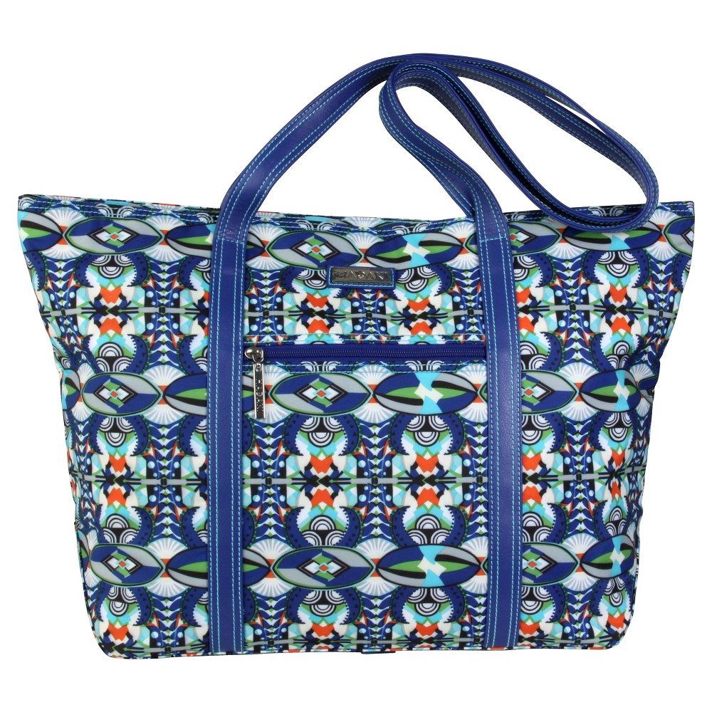 Womens Cosmopolitan Nylone Tote Handbag, Blue/Multi-Colored