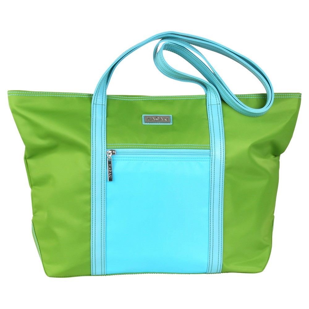 Womens Cosmopolitan Nylone Tote Handbag, Blue/Multi-Colored/Apple Green