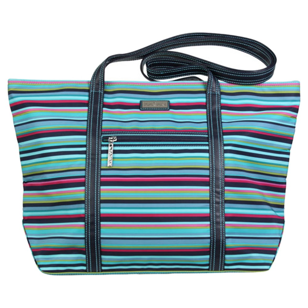 Womens Cosmopolitan Nylone Tote Handbag, Multi-Colored/Green/Blue/Dark Blue
