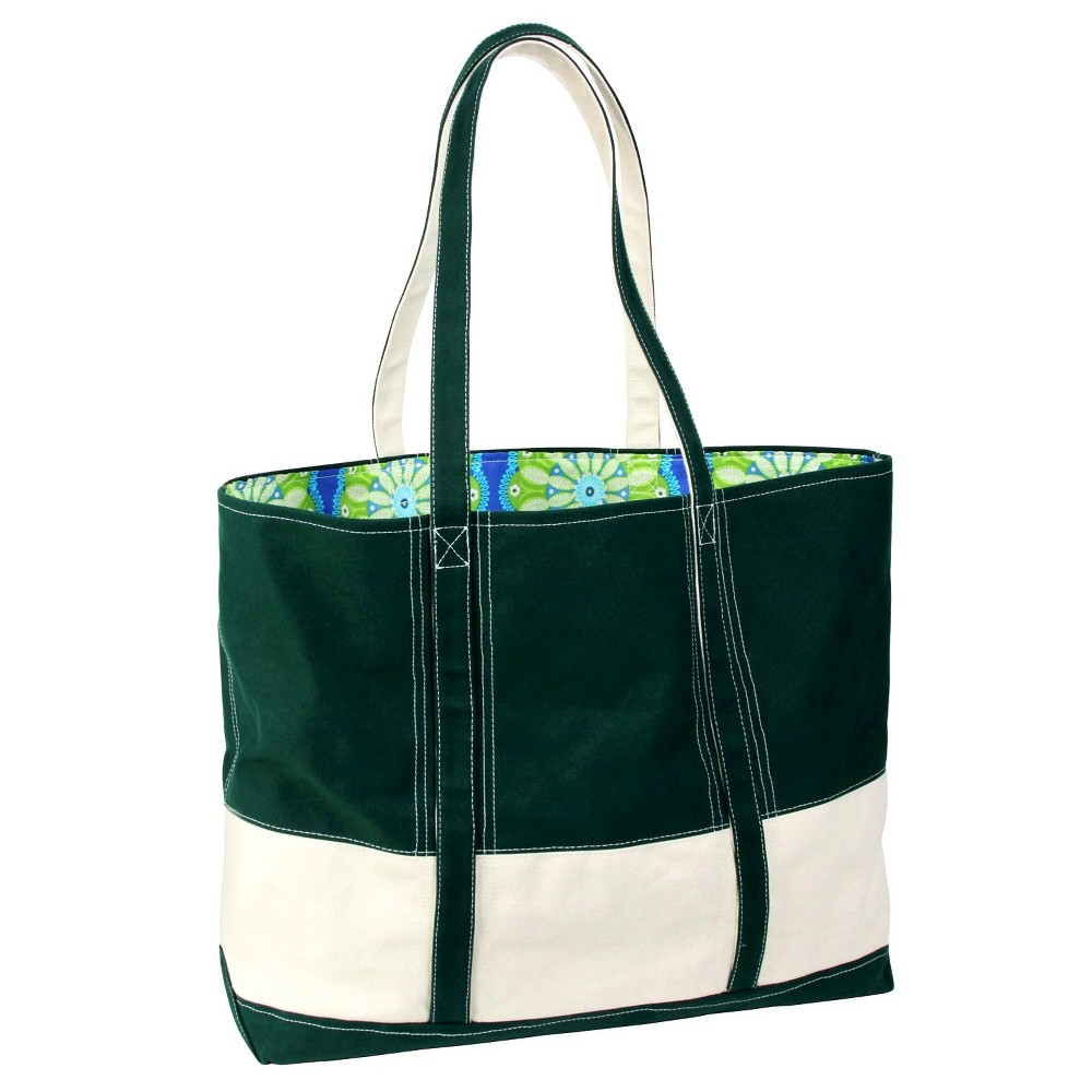 Womens Big Easy Canvas and Nylon Tote Handbag, Green/Natural