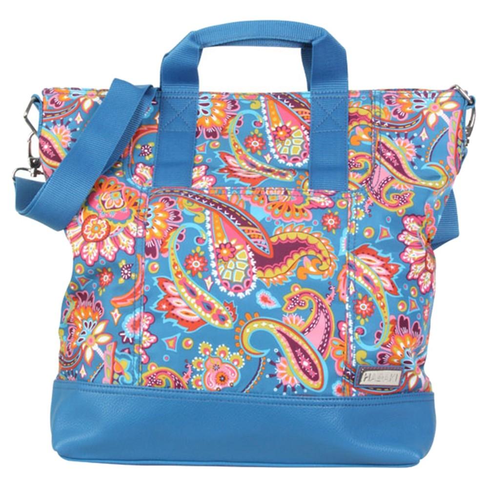Womens Nylon French Market Tote Handbag, Lite Blue/Multi-Colored
