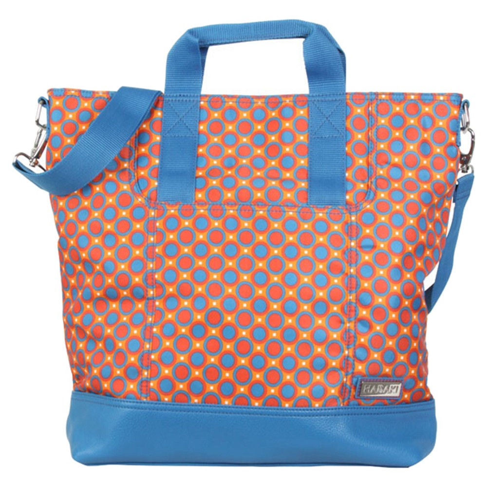 Women's Nylon French Market Tote Handbag, Fiesta Red/Bright Blue