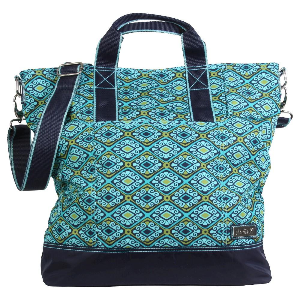 Womens Nylon French Market Tote Handbag, Dark Blue/Green/Blue
