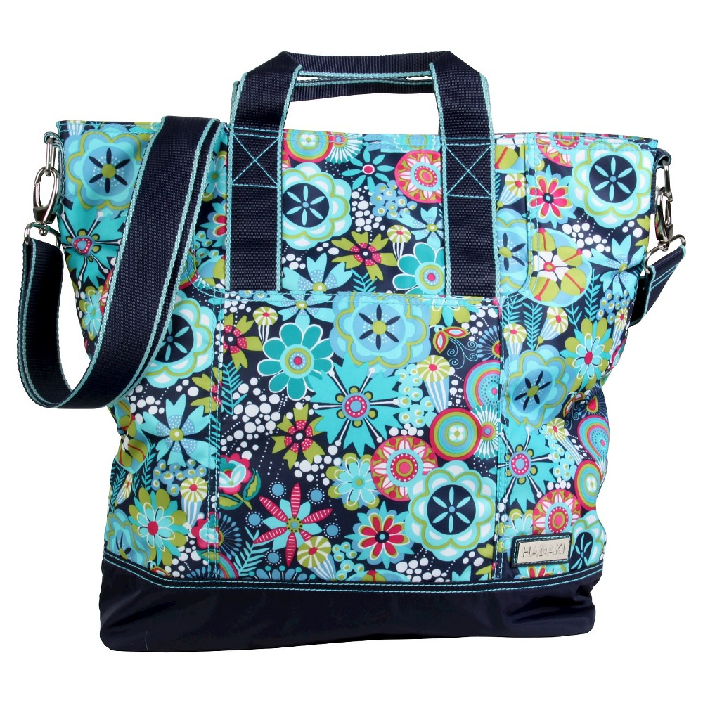 Womens Nylon French Market Tote Handbag, Navy Base/Blue