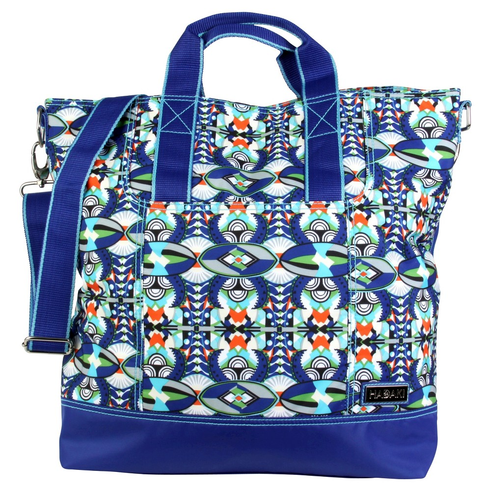 Womens Nylon French Market Tote Handbag, Blue/Multi-Colored