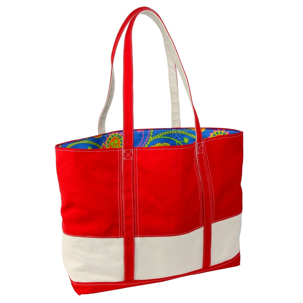 Womens Big Easy Canvas and Nylon Tote Handbag, Red/Natural