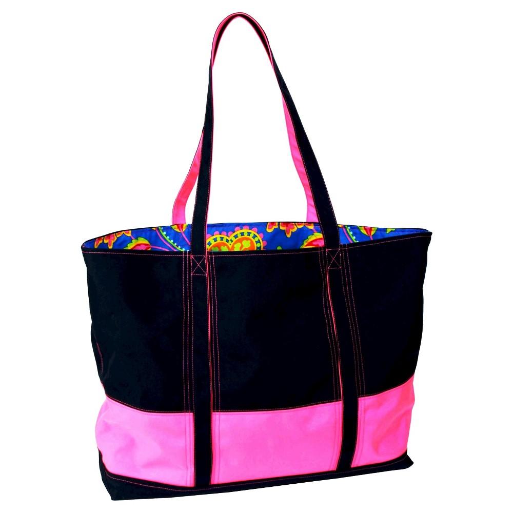 Womens Big Easy Canvas and Nylon Tote Handbag, Blue/Pink