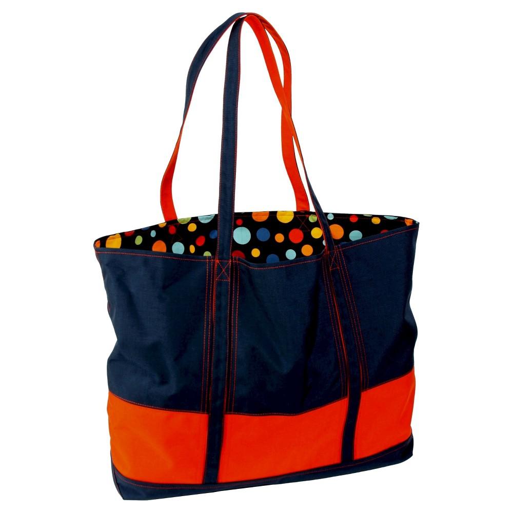 Womens Big Easy Canvas and Nylon Tote Handbag, Blue/Orange