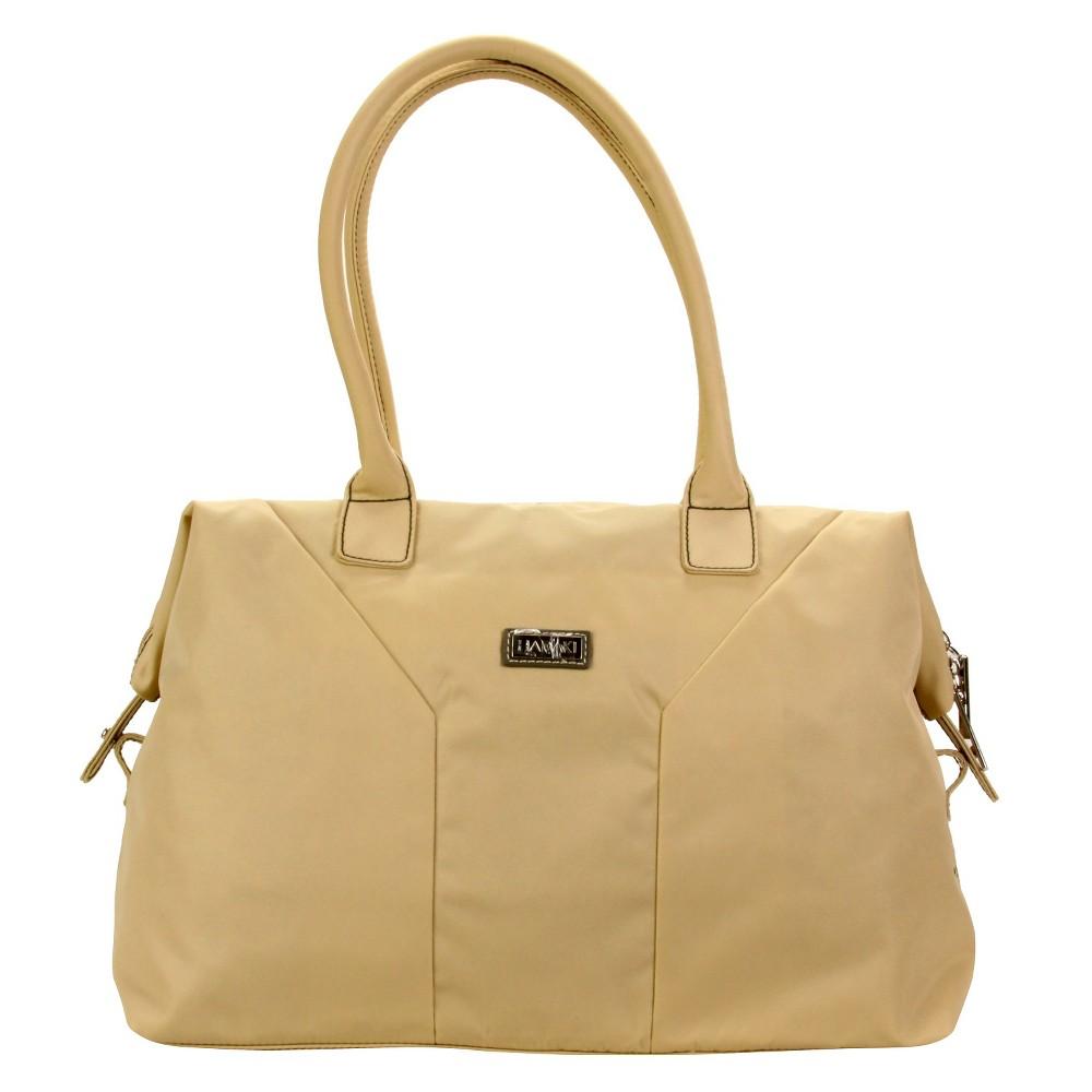 Women's Nylon Satchel Handbag, Size: Small, Beige Nude