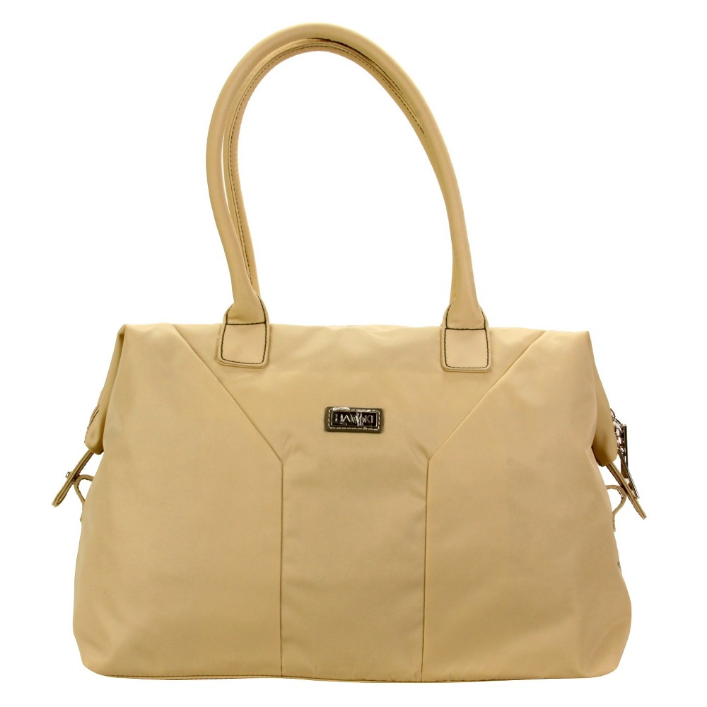 Womens Nylon Satchel Handbag, Size: Small, Beige Nude