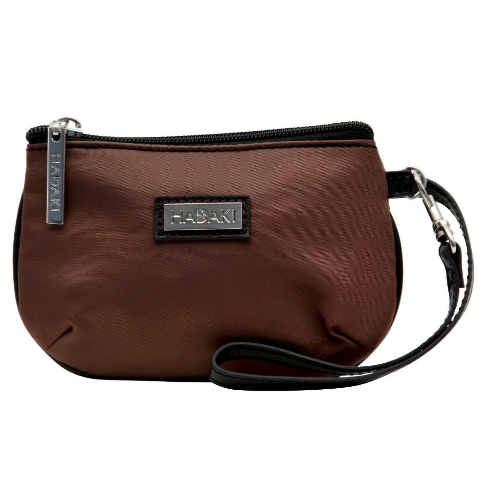 Womens Coated ID Wristlet Handbag, Brown