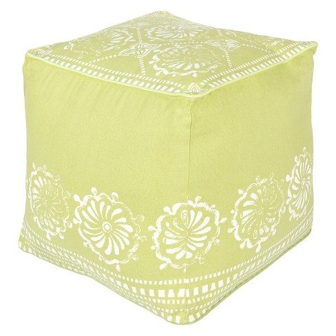 Fendlera Floral Cube Pouf - Surya - image 1 of 1