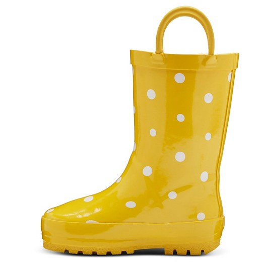 Toddler Girls' Polka Dot Rain Boots - Yellow : Target