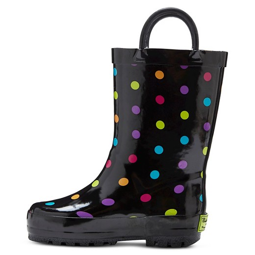Toddler Girls' Molly Polka Dot Rain Boots - Black : Target