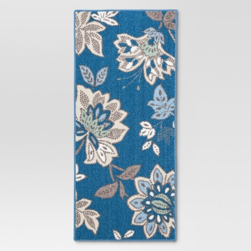 "Blue Cool Floral Printed Kitchen Rug (1'8""X3'9"") - Threshold™ - image 1 of 3"