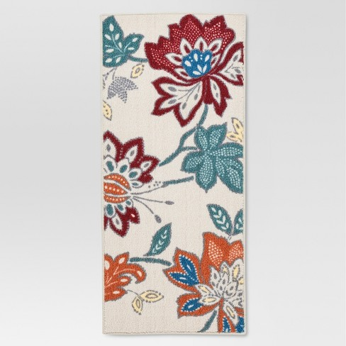 "Red Warm Floral Printed Kitchen Rug (1'8""X3'9"") - Threshold™ - image 1 of 3"