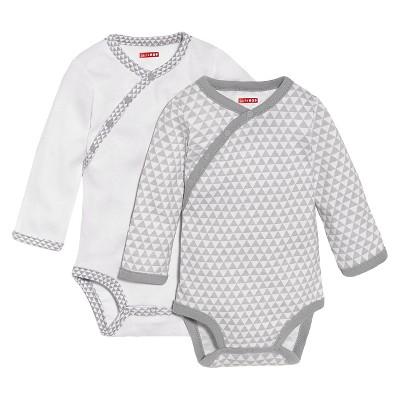 Skip Hop Petite Triangles Side-Snap Long Sleeve Baby Bodysuit Set, Gray