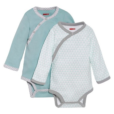 Skip Hop Petite Triangles Side-Snap Long Sleeve Baby Bodysuit Set, Blue