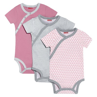 Skip Hop Baby Girls' Short Sleeve' 3pk Side Snap Bodysuite - Pink