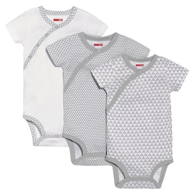 Skip Hop Baby 3pk Petite Triangles Side-Snap Short Sleeve Bodysuit Set - Gray Newborn