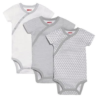 Skip Hop Baby 3pk Petite Triangles Side-Snap Short Sleeve Bodysuit Set - Gray 3M