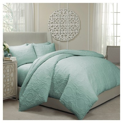 Vue Barcelona Quilted Coverlet and Duvet Ensemble - Spa (King)