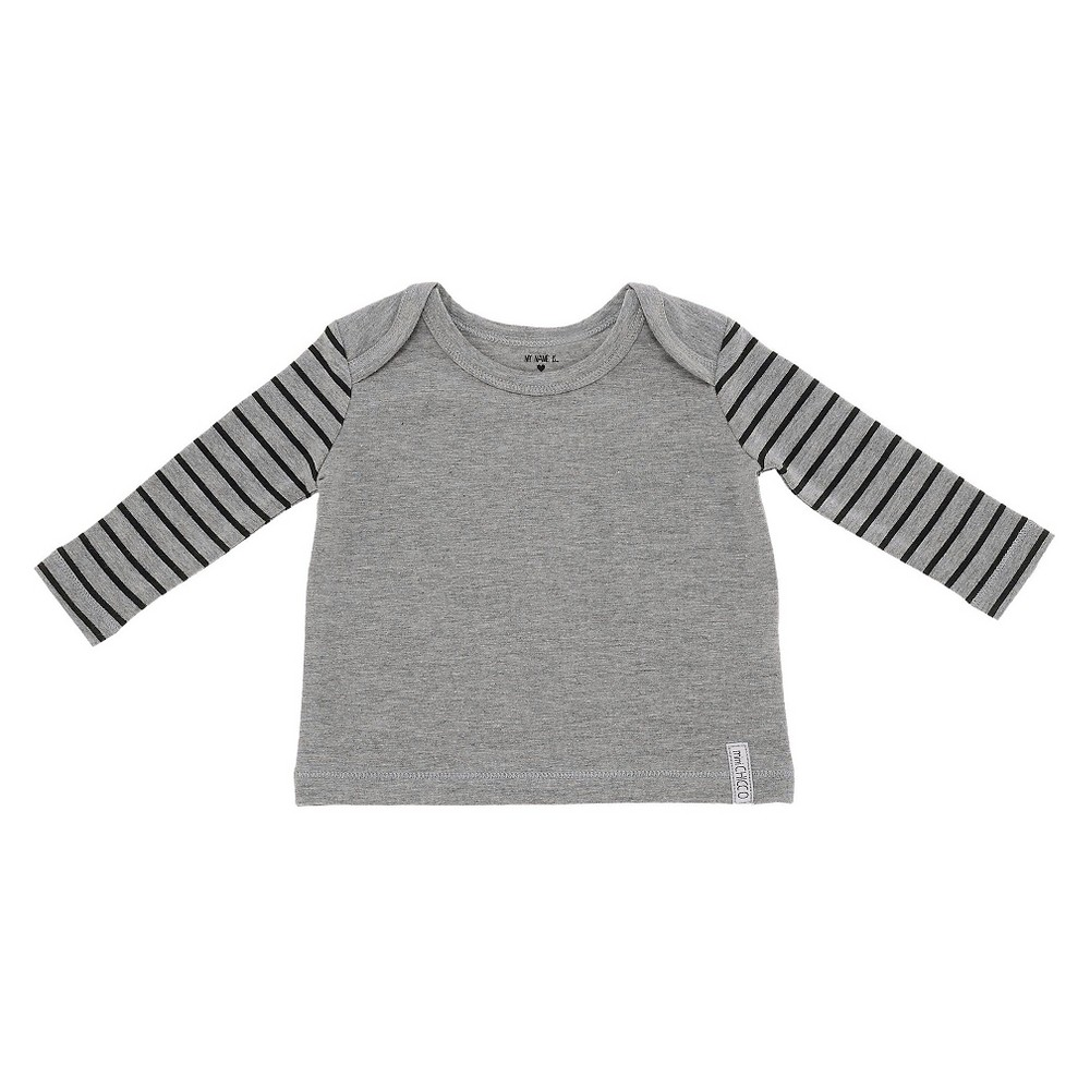 Chicco Baby Long Sleeve Shoulder T-Shirt - Gray NB, Infant Unisex