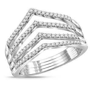1/4 CT. T.W. Round-Cut White Diamond Prong Set Ring in Sterling Silver - White (8), Women