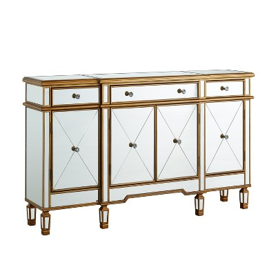 Chloe Gold and Mirrored Console 3 Drawers 4 Doors - Oak Grove Collection