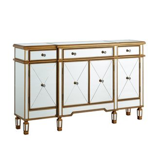 Powell Gold and Mirrored Console 3-Drawers 4-Doors
