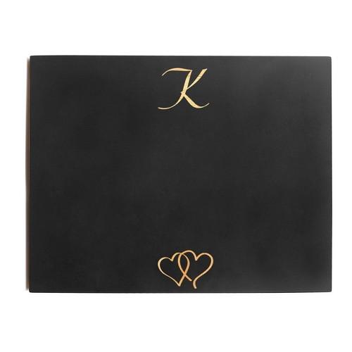 Monogram Wedding Chalkboard Sign - K, Black