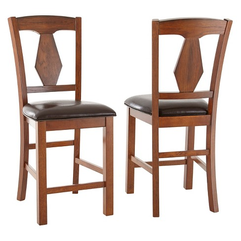 "Devlin 24"" Counter Chair Hardwood/Brown (Set of 2) - Steve Silver Co. - image 1 of 2"