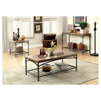 Bernham Console Table Natural Oak - Furniture of America, Nature's Brown