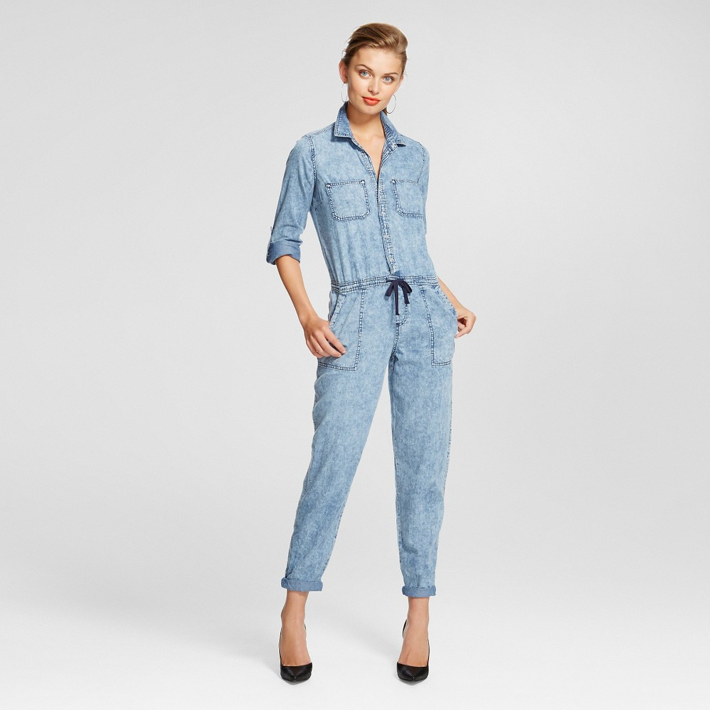 Womens Roll Sleeve Drawstring Waist Jumpsuit - Dollhouse M, Blue