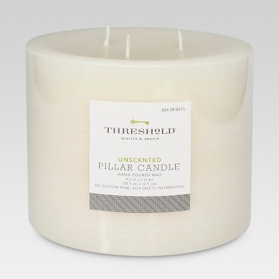 Unscented Pillar Candle Cream 4 x5  - Threshold™