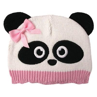 Newborn Girls' Panda Beanie White