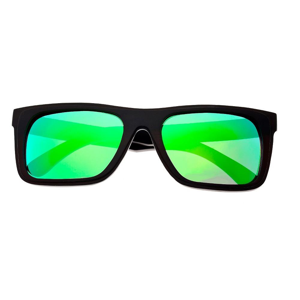 Earth Wood Ona Unisex Sunglasses with Green Lens - Brown, Dark Oak